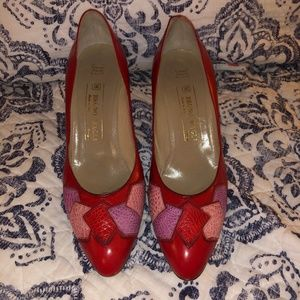 VTG Red Bruno Magli Patchwork Leather Pumps